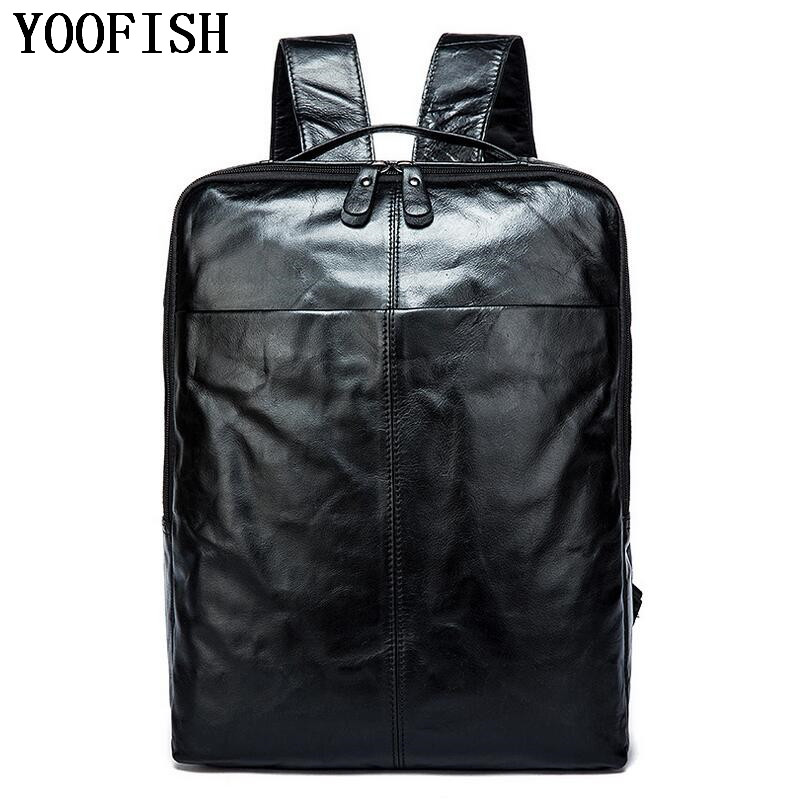 YOOFISH Genuine Leather Unisex Laptop Backpack Preppy Style School Backpacks Satchel Bag Fashion Travel Bag LJ-921