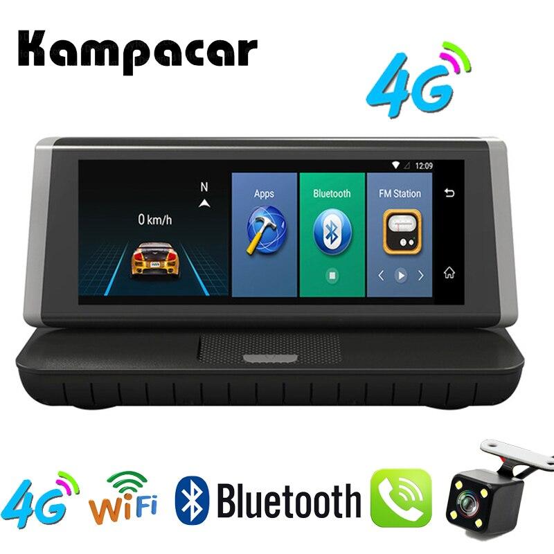 Kampacar 8 pouce Tactile Voiture Dvr 2 Caméra 4g Android wifi GPS Navigation Full HD 1080 p Enregistreur Vidéo double Lentille Greffier Dash cam