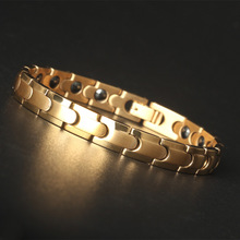 Mens Unisex Titanium Steel Hand-chain Rose-gold Color Health-care Jewelry