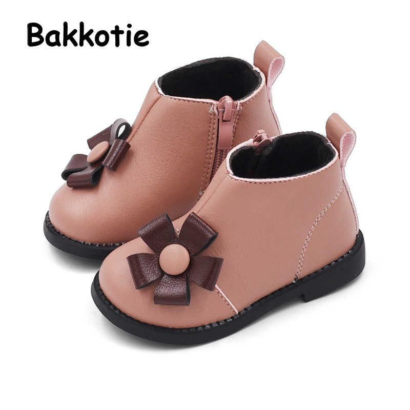 Bakkotie 2018 冬の新女の赤ちゃんファッションブーツ子供黒暖かい靴花ブランド足首の靴幼児 Pu レザー靴