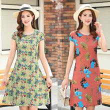 B Plus size S-6XL new summer women cotton silk dress women plant flower embroidered cotton dress woman casual loose dress