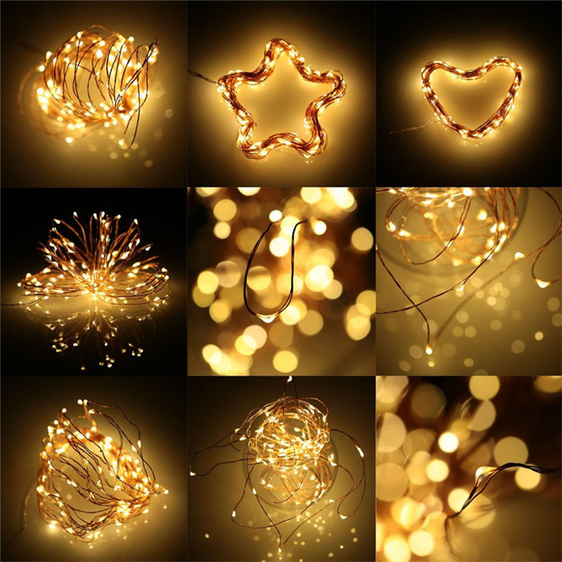Trecaan 10PC 2M 20Leds AA battery powered led string light Copper wire Flexible Outdoor fairy decoration for Party,Holiday