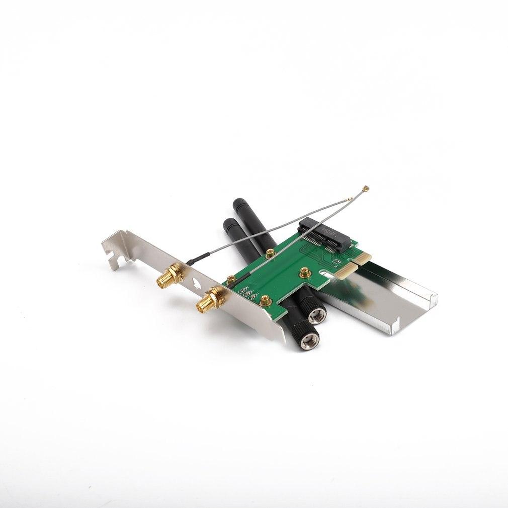 802.11n Mini Wireless WIFI PCI-E To Mini PCI PCI-E Wlan Adapter Expansion Network Card With 2 Aerials WiFi Converter
