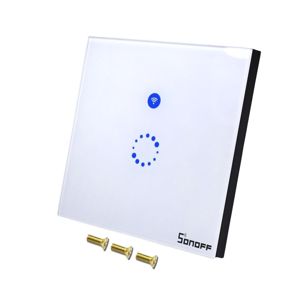 Sonoff Smart Touch Wand EU Glas Panel Schalter Wifi Wireless Smart Home 1 Gang 1 Weg Led-leuchten Controller Timer 2A Steckdose