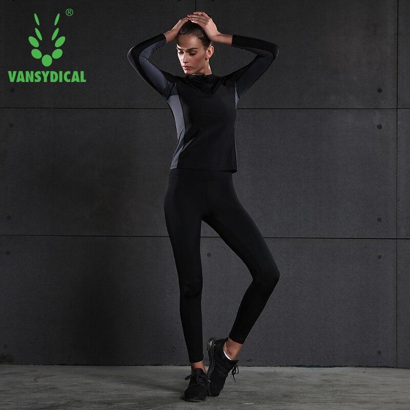 Vansydical Women Running Sweart Shirt Sexy Yoga Shirts Crop Top  Workout Body Shapers Bra Tracksuits Top Sport Shirts Sportswear