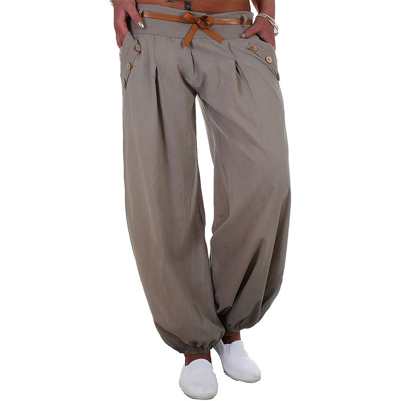 2018 Autumn women Casual Loose Harem   Pants   Solid Elastic Waist Summer   Wide     Leg     Pants   Plus Size Cotton linen Trousers S-4XL 5XL