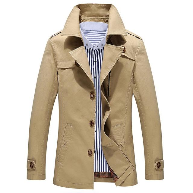 Manteau homme 2016 Moda trench coat hombres chaqueta de los hombres barato mens trench coats cotton Venta Caliente da vuelta-abajo más tamaño 5XL