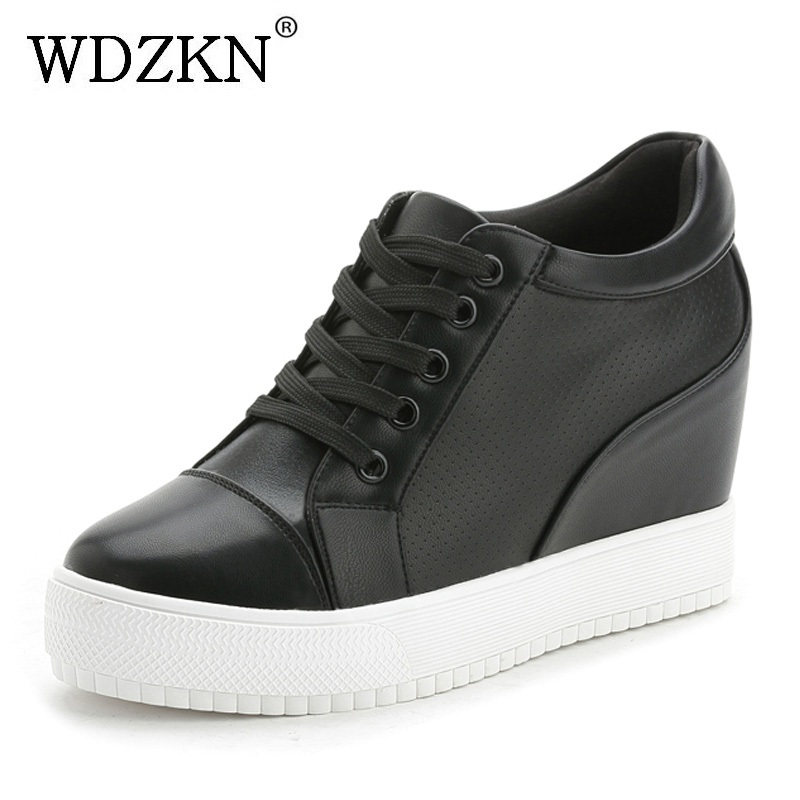 WDZKN 2018 Platform High Heels Wedge Women Shoes Chaussure Femme Black White Hidden Heels Elevator Shoes Winter Casual Shoes wdzkn 2017 platform high heels wedge women shoes chaussure femme black white hidden heels elevator shoes winter casual shoes
