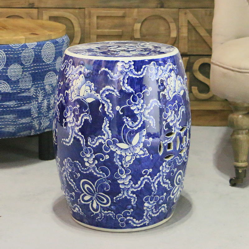 Antique Chinese HAND PAINTED Blue and White Ceramic Garden Furniture Stool wildwood lamps 292499 antique finished ceramic hand made and glazed tang horse braying
