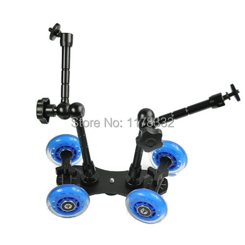 Table Top Dolly Mini Car Premium Flex Skater Dolly Stabilizer Table Top Slider + 7inch + 11 inch Magic Arms for DSLR Camera