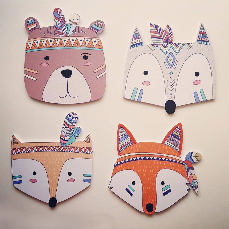 Nordic Style Cute Cartoon Ins Wood Wall Stickers Wall Lovely Children Kids Baby Room Wall Home Living Room Decoration