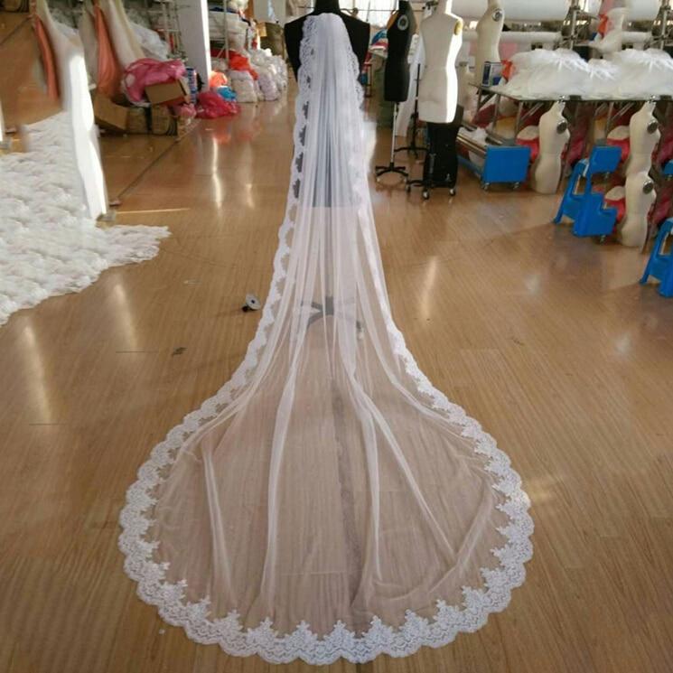 2018 New Hot High Quality France Lace Appliques Lace Edge Bridal Mantilla Veil with Comb Velo De Novia Wedding Veils AccessoriesBridal Veils   -
