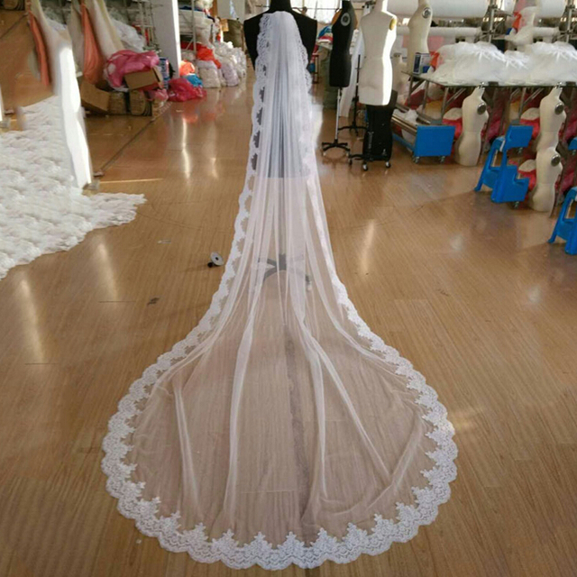 2018 New Hot High Quality France Lace Appliques Lace Edge Bridal Mantilla Veil with Comb Velo De Novia Wedding Veils Accessories