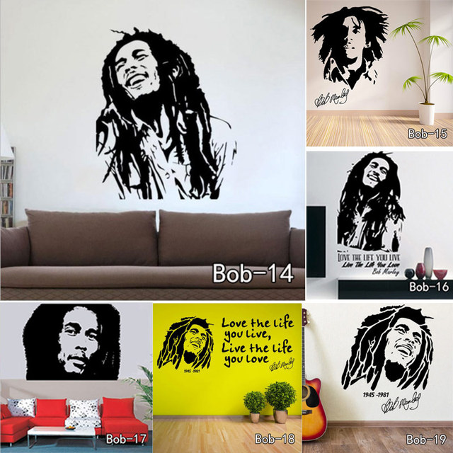 Bob Marley Cours Wall Sticker Vinyle Stickers Muraux Cite Affiche ...