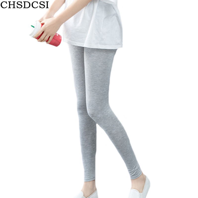 CHSDCSI Cotton Legging Pants Black White High-Elastic Lady New-Arrival Wholesale Candy-Colors
