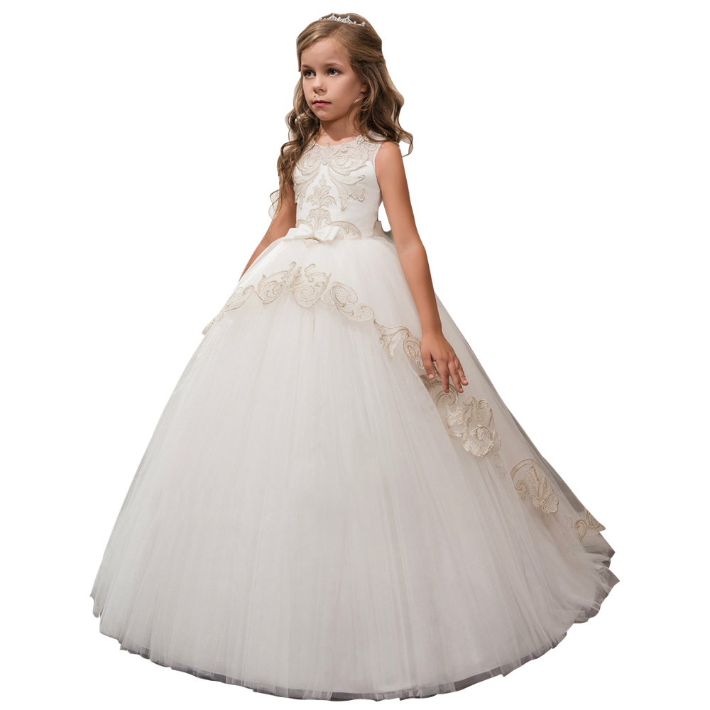 цена ball gown little girls dresses with bow kids dress for girls vestidos de primera comunion 2018 lace flower girls tulle dress