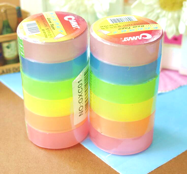 New color transparent adhesive tape photo stickers angle DIY gift packaging rainbow belt lhx p0fh08 1 40 4mmhardware 4pcs 4 color antique angle packaging bag crashproof packer corner gift trumpet flower wrap angle