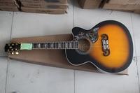 HOT Wholesale Deluxe Sunburst J200 Vintage Sunburst Acoustic Guitar in stock, Free Shipping