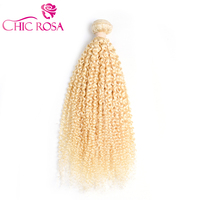 CHIC ROSA 613# Kinky Curly Hair Blonde Hair Bundles #613 Remy hair One Piece Only Platinum Blonde Human Hair Weaving