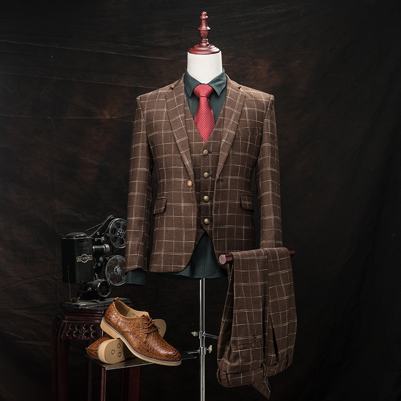 font b Jacket b font Vest Pant 2016 Winter Wool Blend Suit Paid Suit Plus