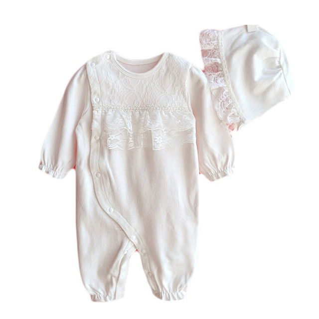 e2057901475 Long Sleeve Newborn Baby Girl Clothes Boutique Formal Princess Lace Jumpsuit    Hats 2-Piece Infant Girls Romper Clothing