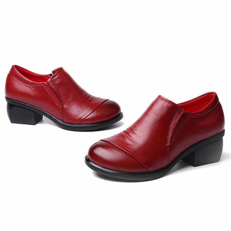 Mntrerm 2018 pileli hakiki deri kadın düz ayakkabı ilkbahar sonbahar yumuşak kalın topuk kadın ayakkabı pompaları yuvarlak ayak inek deri