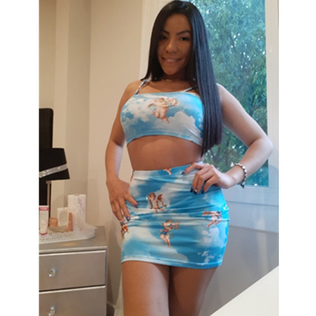 BOOFEENAA Angel Printed Sexy Two Piece Set Crop Top and Skirt Woman Fashion 2020 Summer Cute Matching Sets Club Outfits C76-AA10