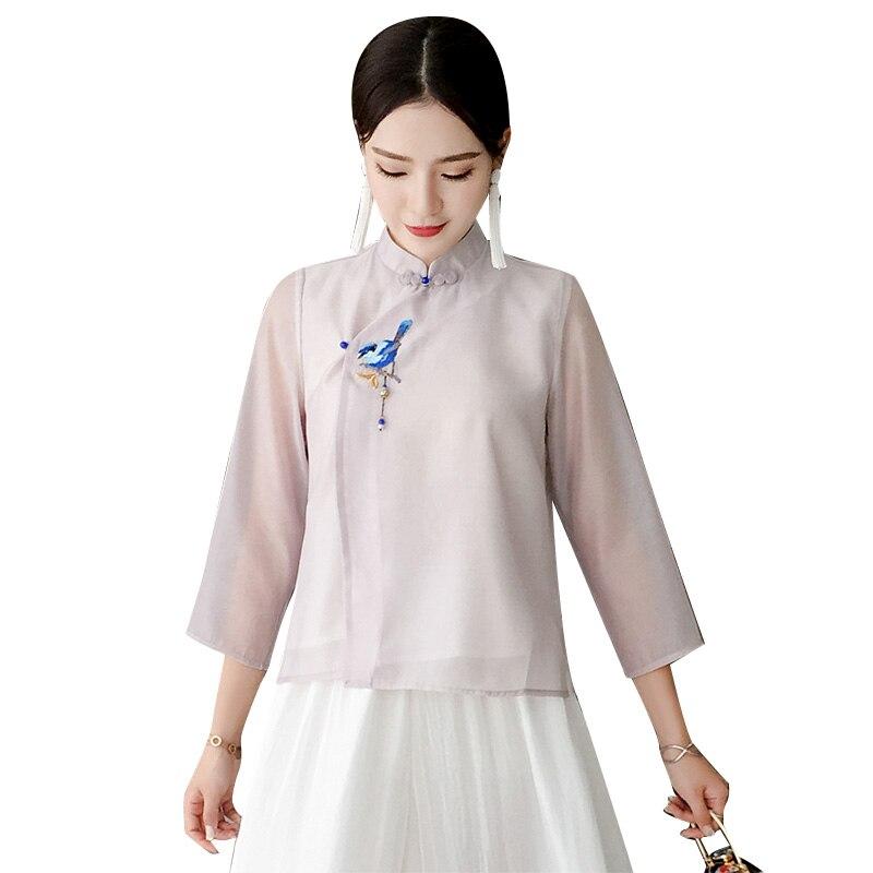 Femmes d'été chemise améliorée de haute qualité Satin doux Top exquis oiseau broderie Blouse Style chinois à la main bouton hauts