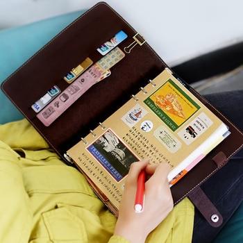 цена Personal Organizer Leather Business Ring Office Binder Notebook Cute Kawaii Agenda Planner 2019 Travel Journal A6 онлайн в 2017 году