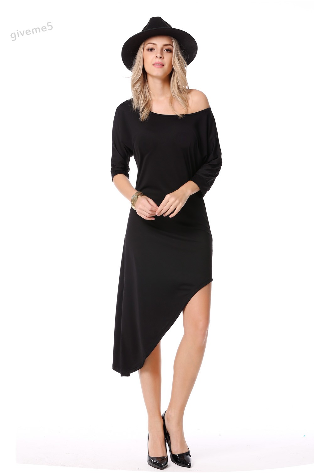 2017 New  Women Fashion Sexy Round Neck Medium Batwing Sleeve Stretch Solid Irregular Dress Free Shipping 51