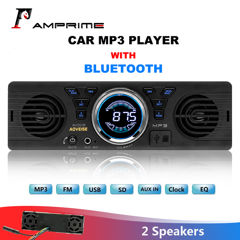 AMPrime <font><b>Car</b></font> Radio AV252B Universal <font><b>1</b></font> <font><b>din</b></font> In-dash MP3 <font><b>Audio</b></font> Player Built-in Speaker Stereo FM Support Bluetooth Aux USB/ TF Card image