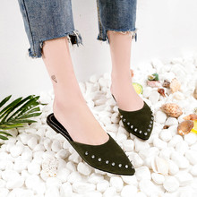 Fashion Women Slides Pointed Toe Summer Shoes Square Heels Suede Rivets Slipper Women Shoes Mules Outdoor Zapatos Mujer