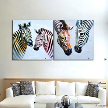 Modern Oil Painting Pictures Hand Painted Zebra Couples Colorful Line Animal 2 Panel Canvas Art Wall Painting for Living Room