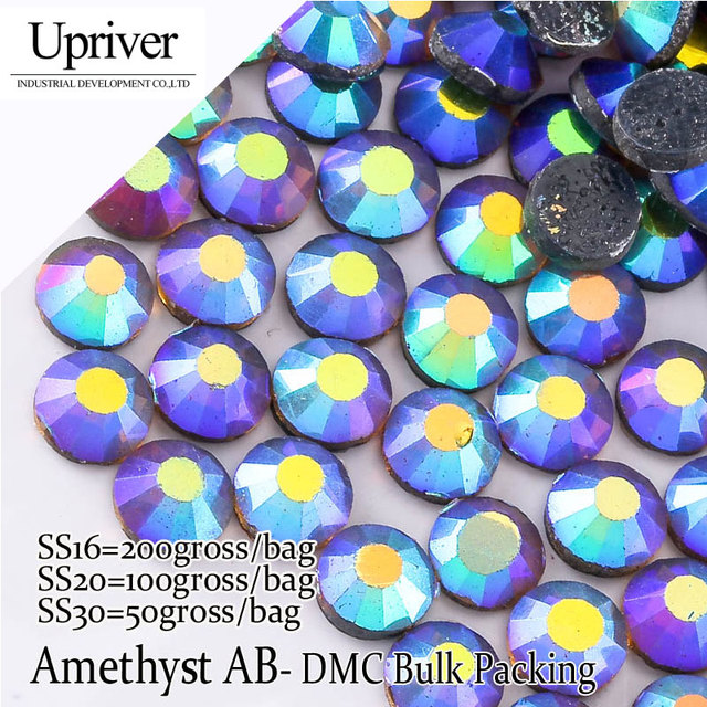 Bulk Packing More Cheaper Best Quality Shiny SS6 SS10 SS16 SS20 SS30  Amethyst AB Hotfix Rhinestones 073a26ee97cd