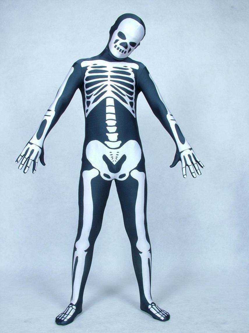 Cosplay blanc squelette / Skull Full Body Lycra Spandex Zentai Costume effrayant Body taille