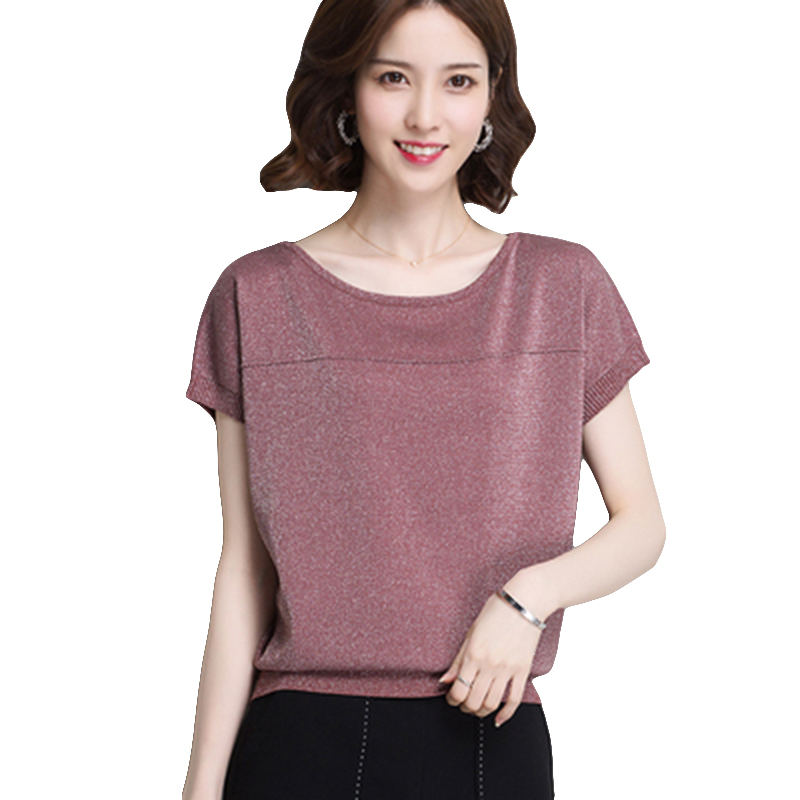 Womens Knit Basic Tops And Blouses Spring Summer Sweater Shiny Lurex Pullover Holidays Korean Style Femme Shirts For New Women