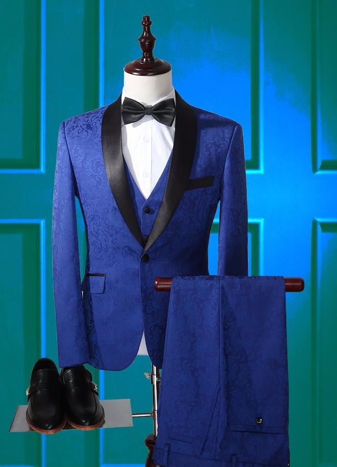 2017 Latest Coat Pant Designs Royal Blue Pattern Men Suit Slim Fit 3 Piece Tuxedo Custom Style Groom Suits Prom Blazer Masculino