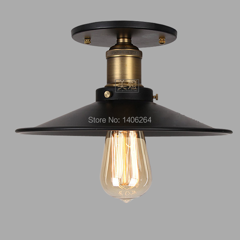 22CM American Country Vintage Style Black Wrought Iiron Ceiling light  Cafe Bar Coffee Shop Bedside Hall Way Store Shop Club edison vintage style e27 copper screw rotary switch lamp holder cafe bar coffee shop store hall club