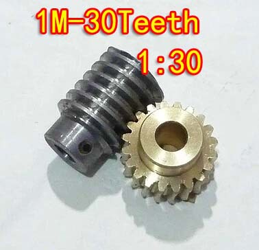 1M-30T reduction ratio:1:30 copper worm gear hole -8MM rod:5mm metal worm reducer transmission parts--D:33MM 1m 40teeth 1 4 precision copper worm gear rod screw machine parts gear hole 8mm rod hole 6mm
