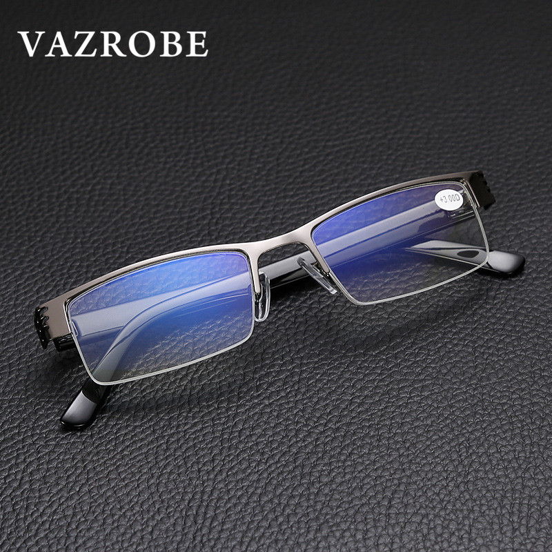 Vazrobe Anti Blue Radiation Reading Glasses Men Women +1.0 1.5 2.0 2.5 3.0 3.5 4.0 diopter male presbyopia eyewear tint clear