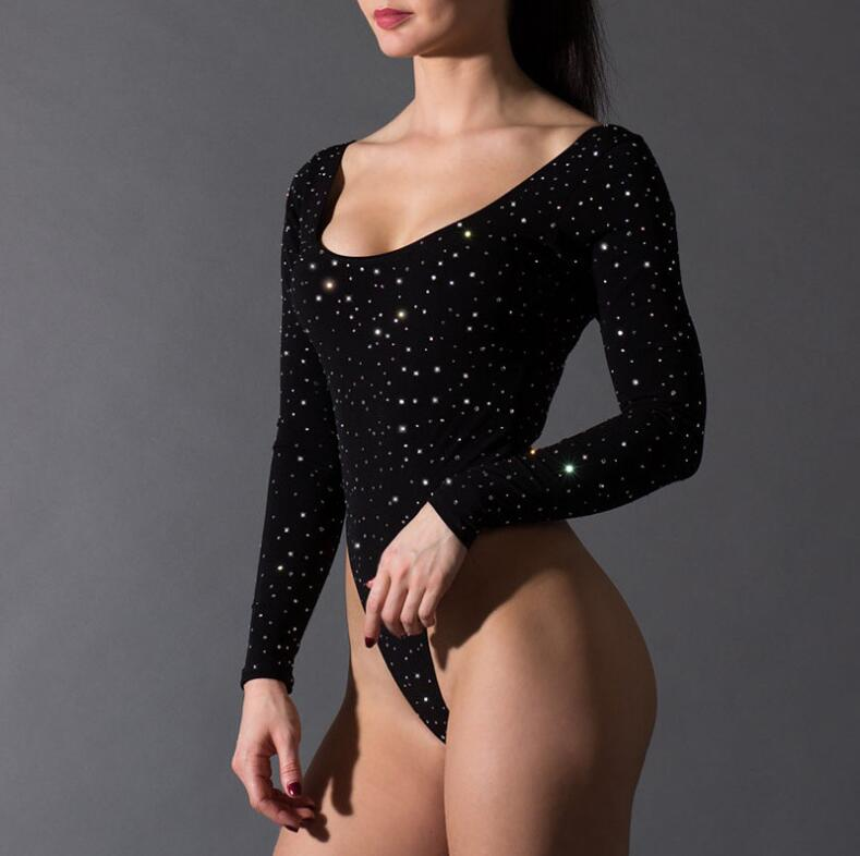 Women Backless Full Sleeve Bodysuit Autumn Women Sheath Jumpsuits Solid Black Sparkly Color Sexy Women Bodysuits Rompers YFL 044