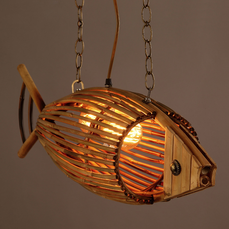 Creative bamboo Fish Restaurant Cafe Bar pendant lamp American country vintage weave personality pendant lights