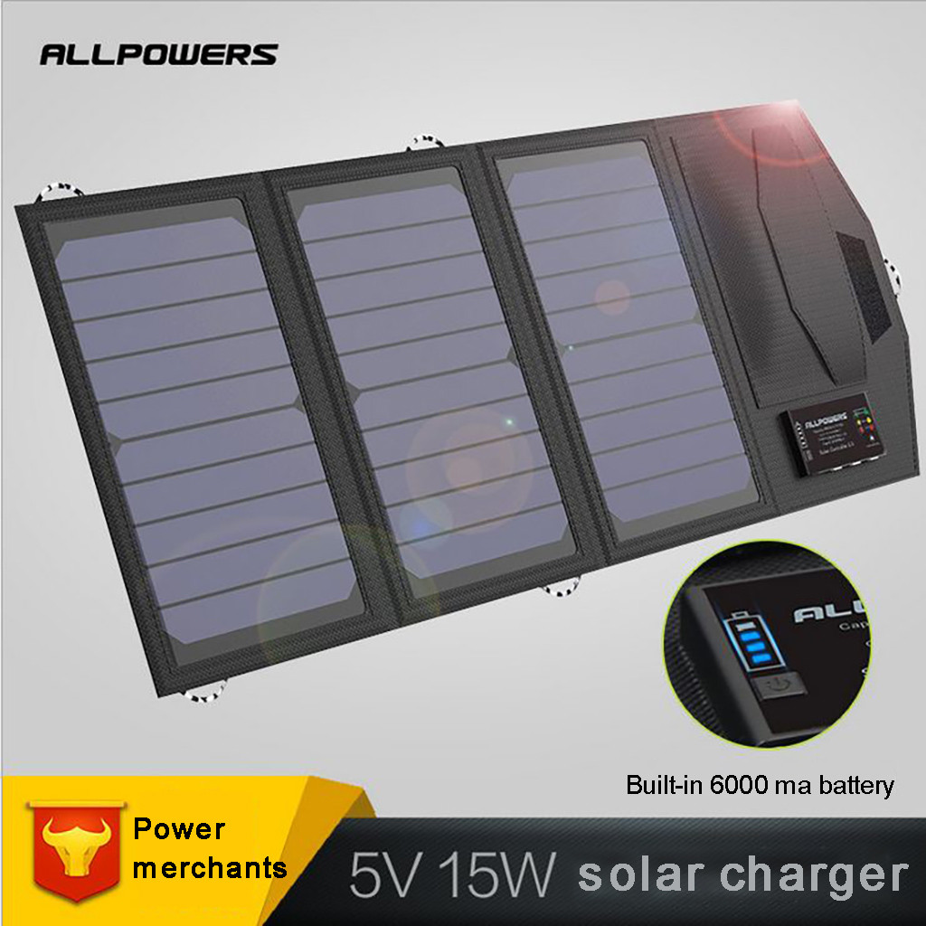 2019 New hot sale ALLPOWERS 5V 15W Dual USB&TYPE-C Portable Foldable and Waterproof Solar Panel Solar charger mobile power2019 New hot sale ALLPOWERS 5V 15W Dual USB&TYPE-C Portable Foldable and Waterproof Solar Panel Solar charger mobile power