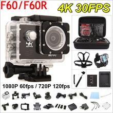 Gopro hero 4 tarzı f60/f60r eylem kamera 4 k/30fps uzaktan 16mp wifi 170d kask kamera sualtı 30 m su geçirmez spor kamera