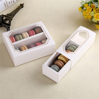 100pcs/lot Lovely Simple White Open-Window Dessert Macarons Box Cake Box Chocolate Muffin Biscuits Box for Cookie Package