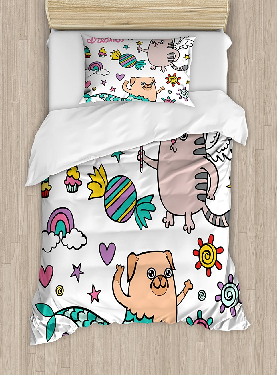 Ensemble housse de couette, carlin sirène et licorne chat souhaitant de doux rêves bonbons colorés et arc-en-ciel, ensemble de literie 4 pièces