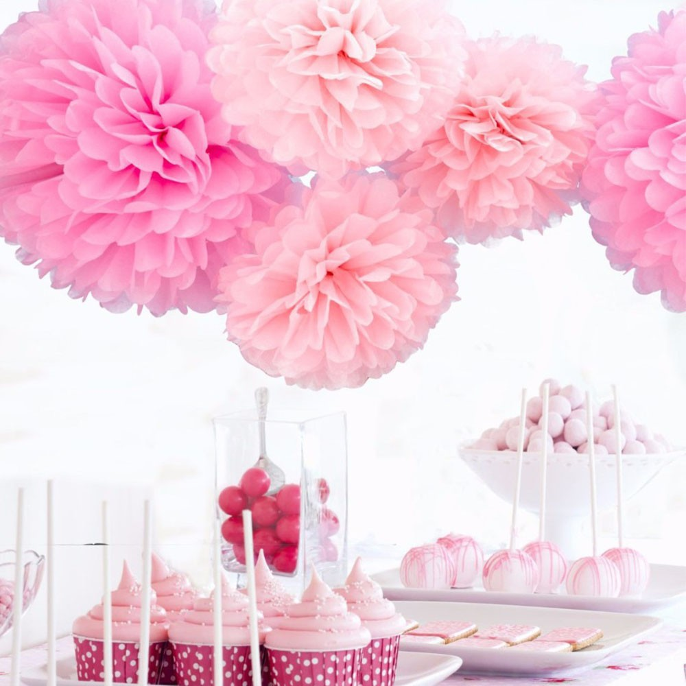 10pcslot 15cm Paper Garland Tissue Paper Flowers Birthday Party