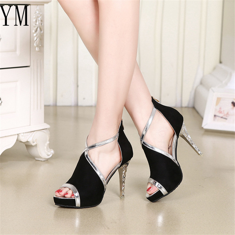 Summer Hollow Zip Platform Women's Shoes Patchwork Ankle Strap Flock Fight Color Peep Toe Fine With High Heels Young Daily Shoes