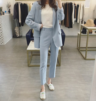 New suit suit female Korean wild one button suit jacket casual pants pants two sets plus size women in overalls