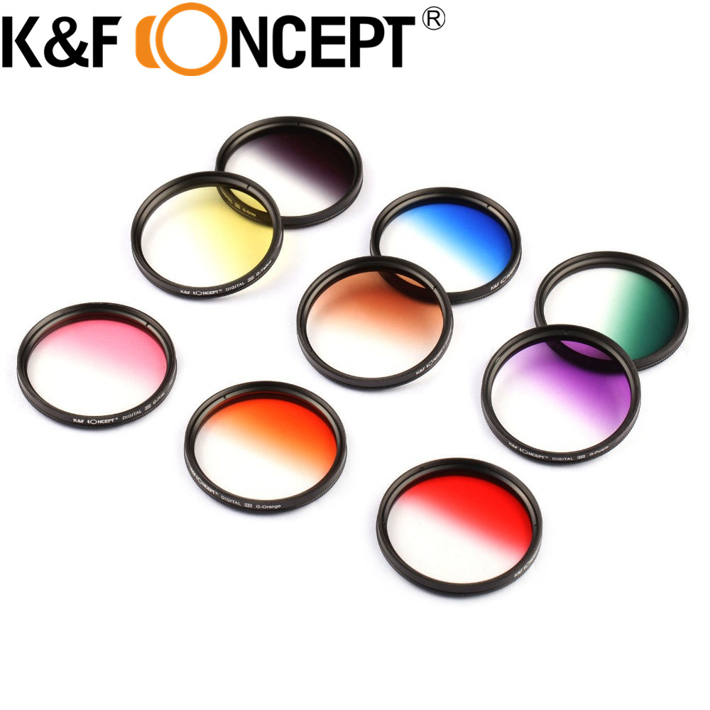 K F Concept 18pcs 58mm Full Color Graduated Color ND Lens Filter Kit For Canon 1100D